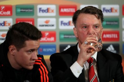 Louis Van Gaal's Manchester United faces Liverpool in the Europa League on Thursday evening.