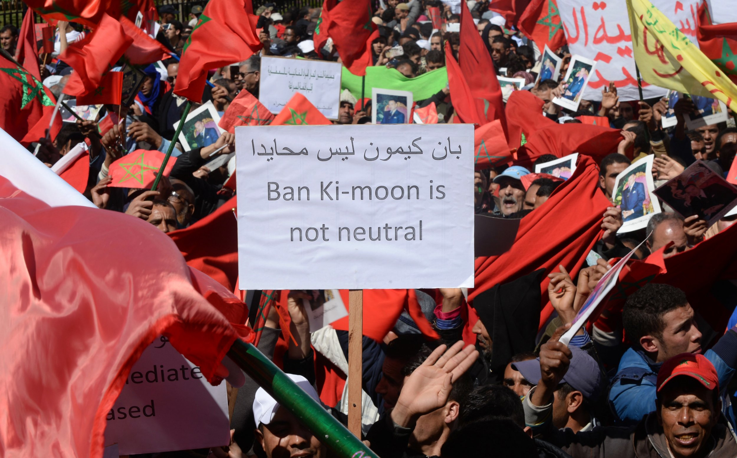 Moroccan protesters demonstrate against Ban Ki-moon's Western Sahara comments.