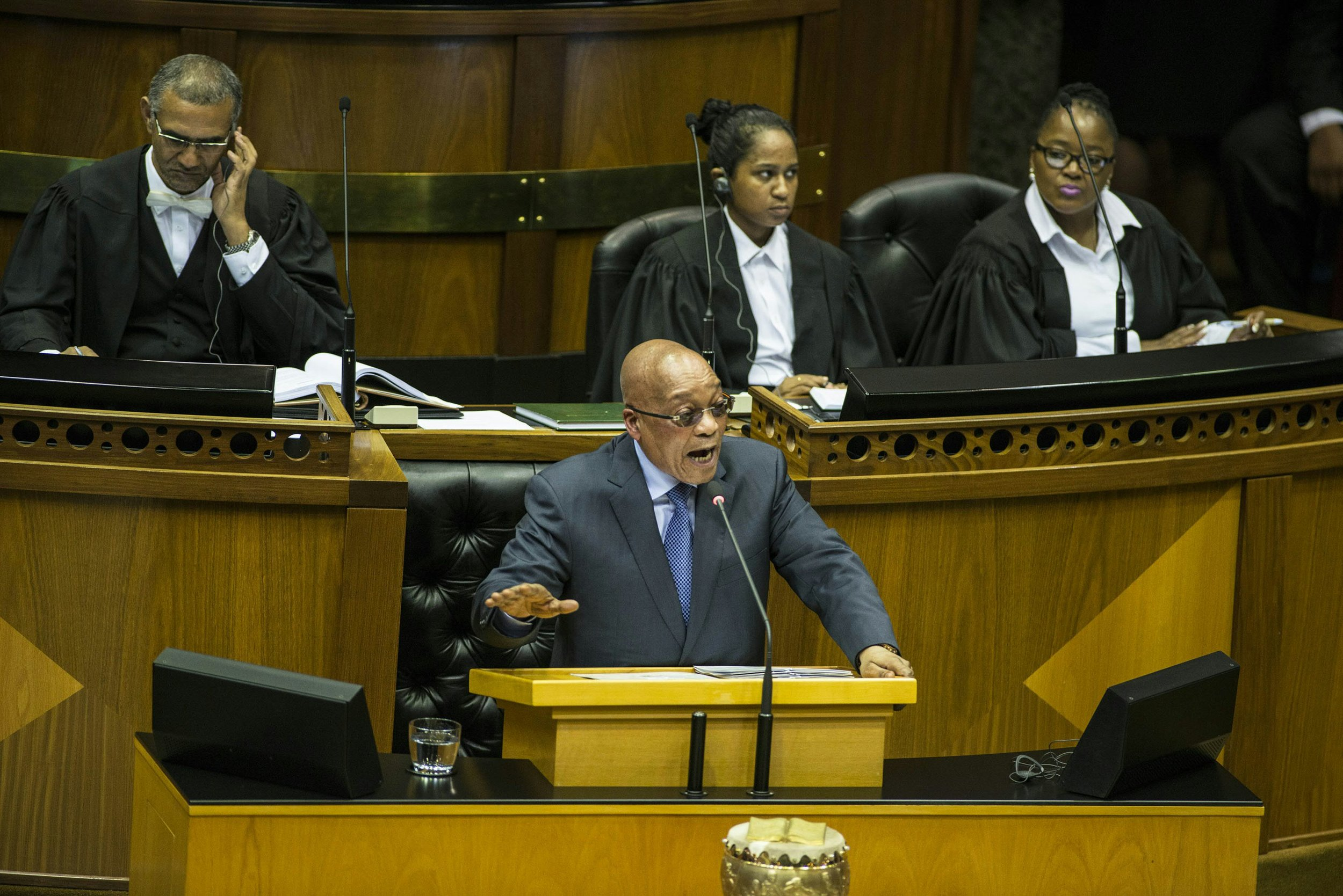 South African President Jacob Zuma answers parliamentary questions.
