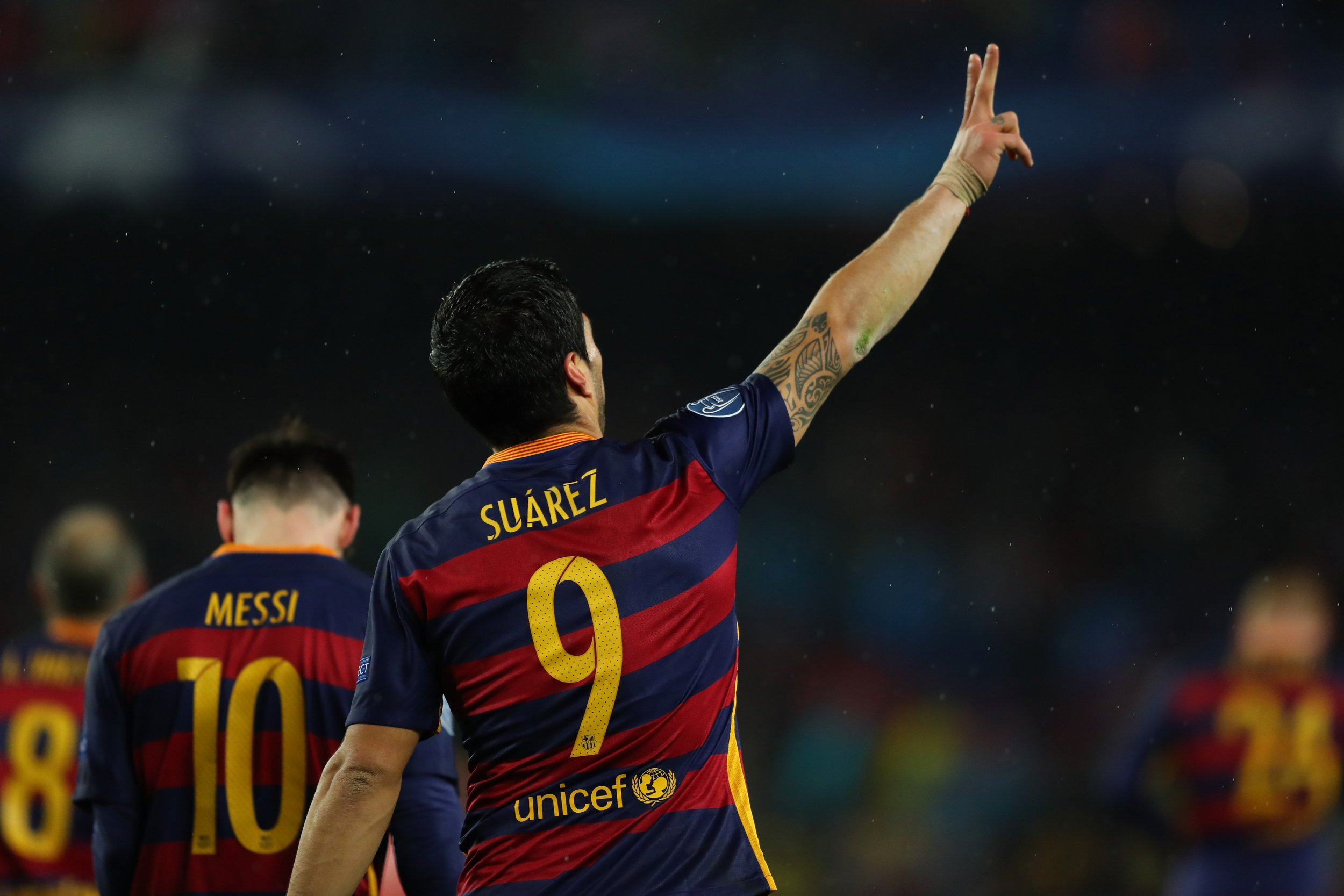 Luis Suarez struck to knock Arsenal from the Champions League on Wednesday night.