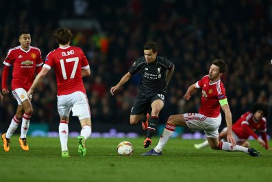 Philippe Coutinho scored the goal to knock Manchester United out of the Europa League.