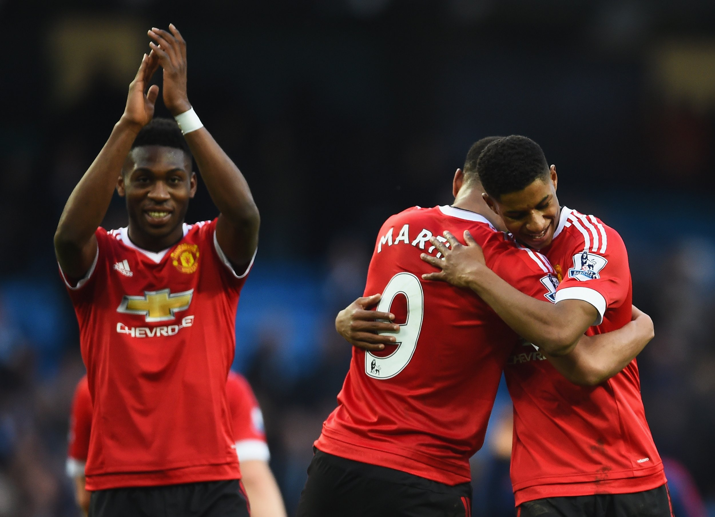 Marcus Rashford, right, struck the winner for Manchester United at Etihad Stadium on Sunday.