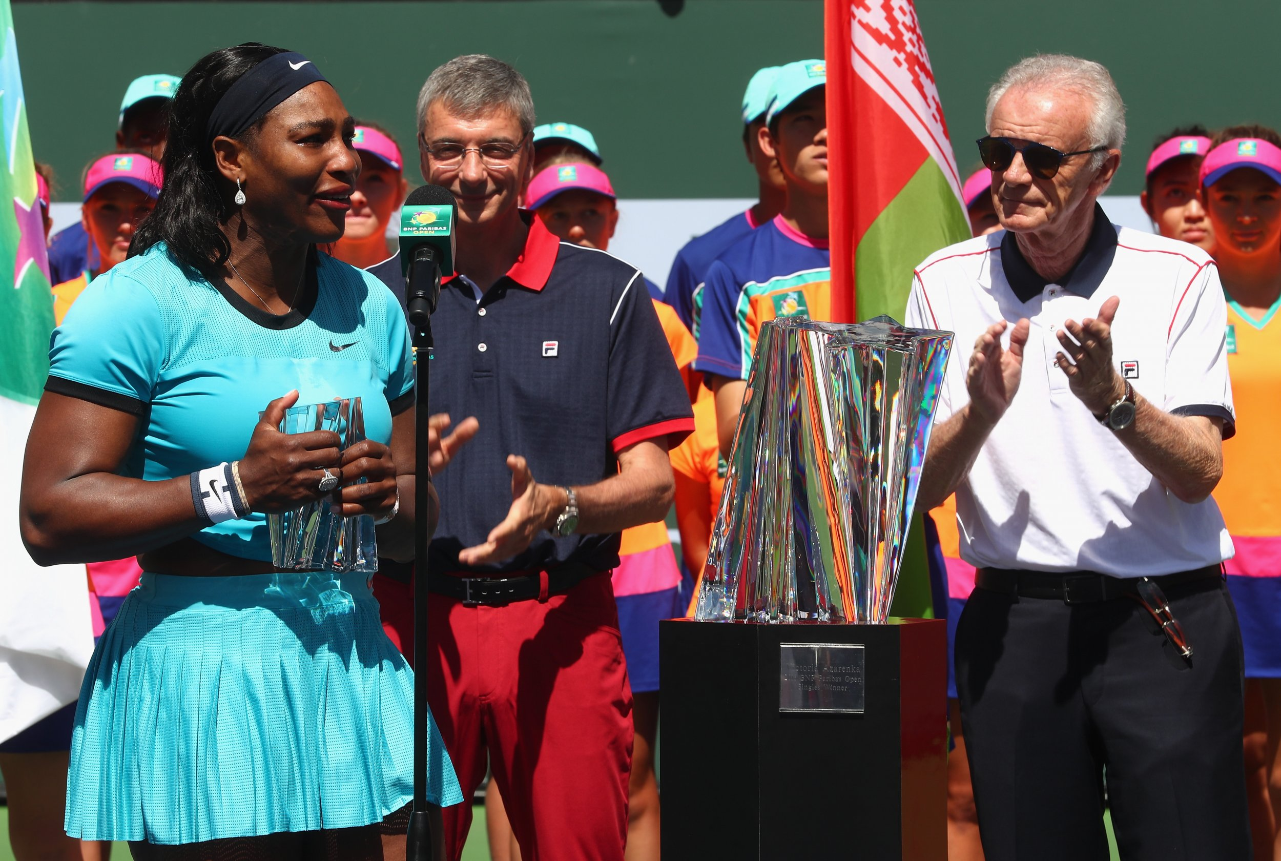 Serena Williams, left, has reacted to comments made by Indian Wells tournament director Raymond Moore.