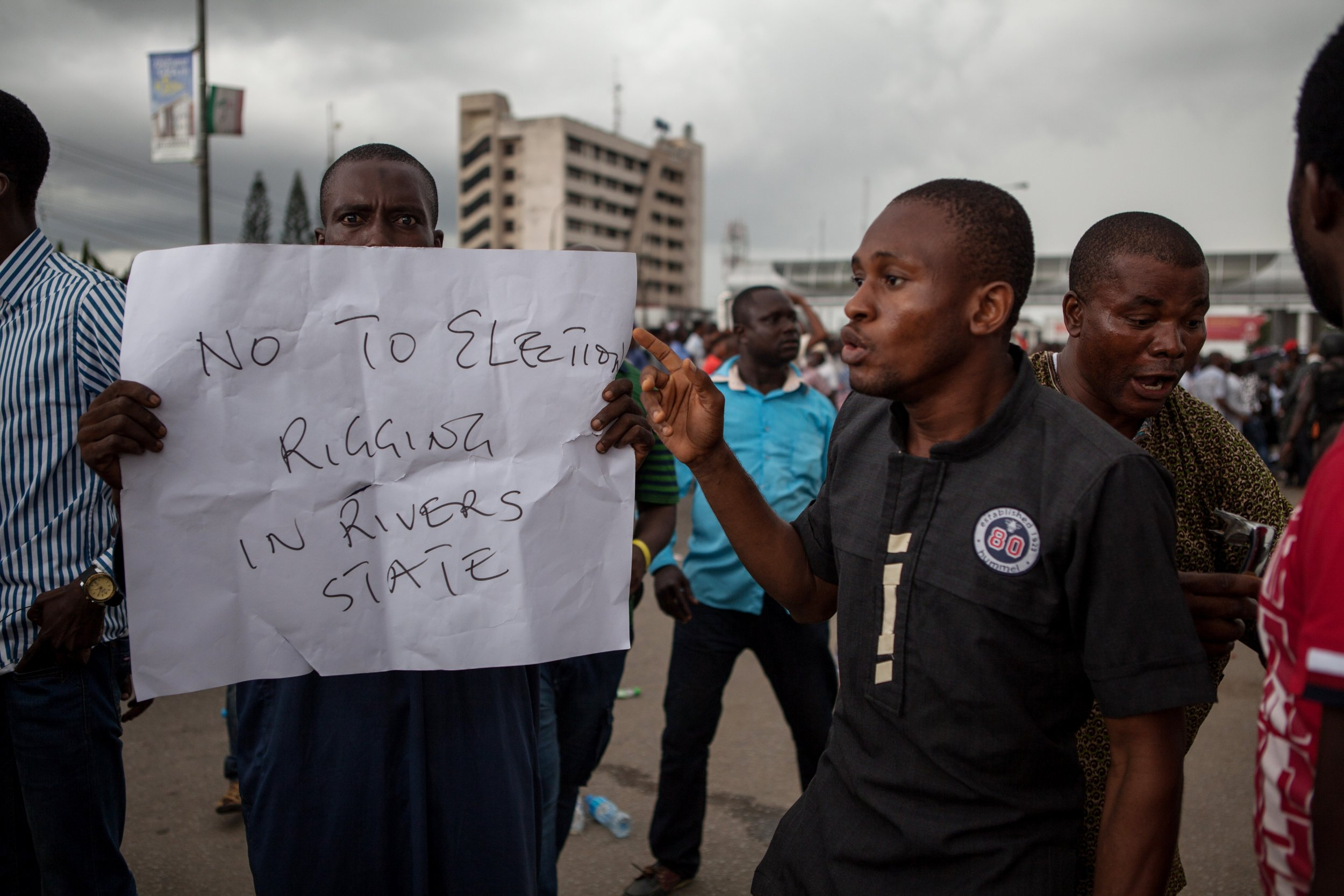 APC supporters demonstrate in Port Harcourt in Nigeria's Rivers state.