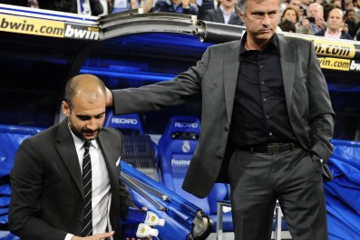 Jose Mourinho, right, and Pep Guardiola were rivals in Spain.