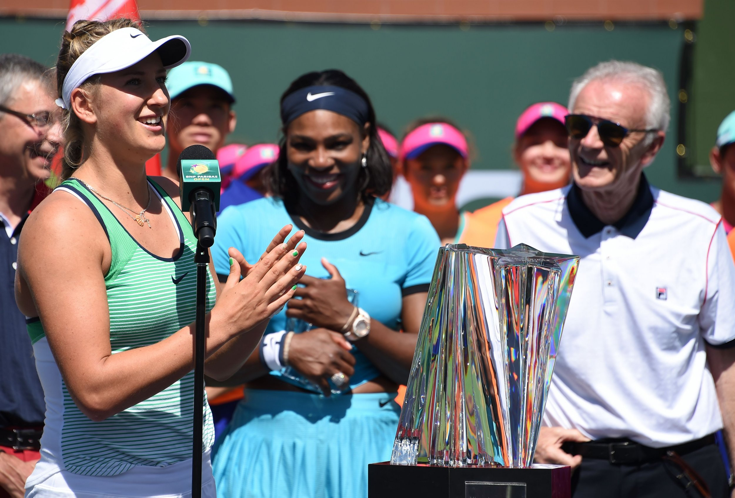 Raymond Moore, right, with Serena Williams and Indian Wells winner Victoria Azarenka, March 20, 2016.