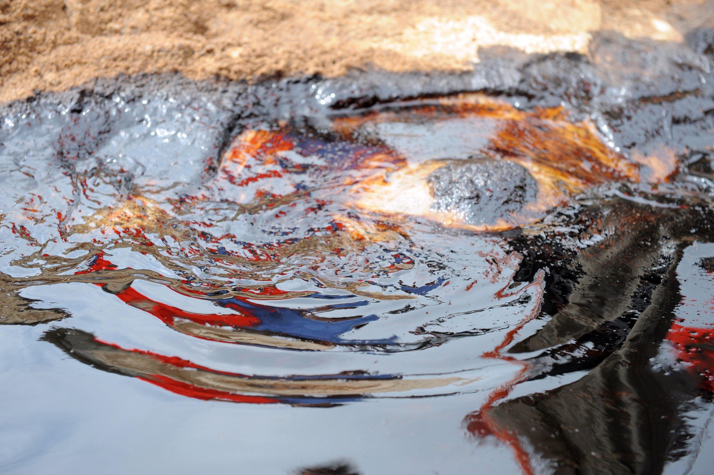 A crude oil spill in the Niger Delta.