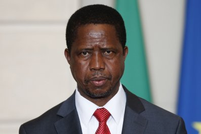 Zambian President Edgar Lungu pictured at the Elysee Palace in Paris.