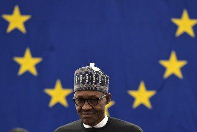 Nigerian President Muhammadu Buhari at the European Parliament.