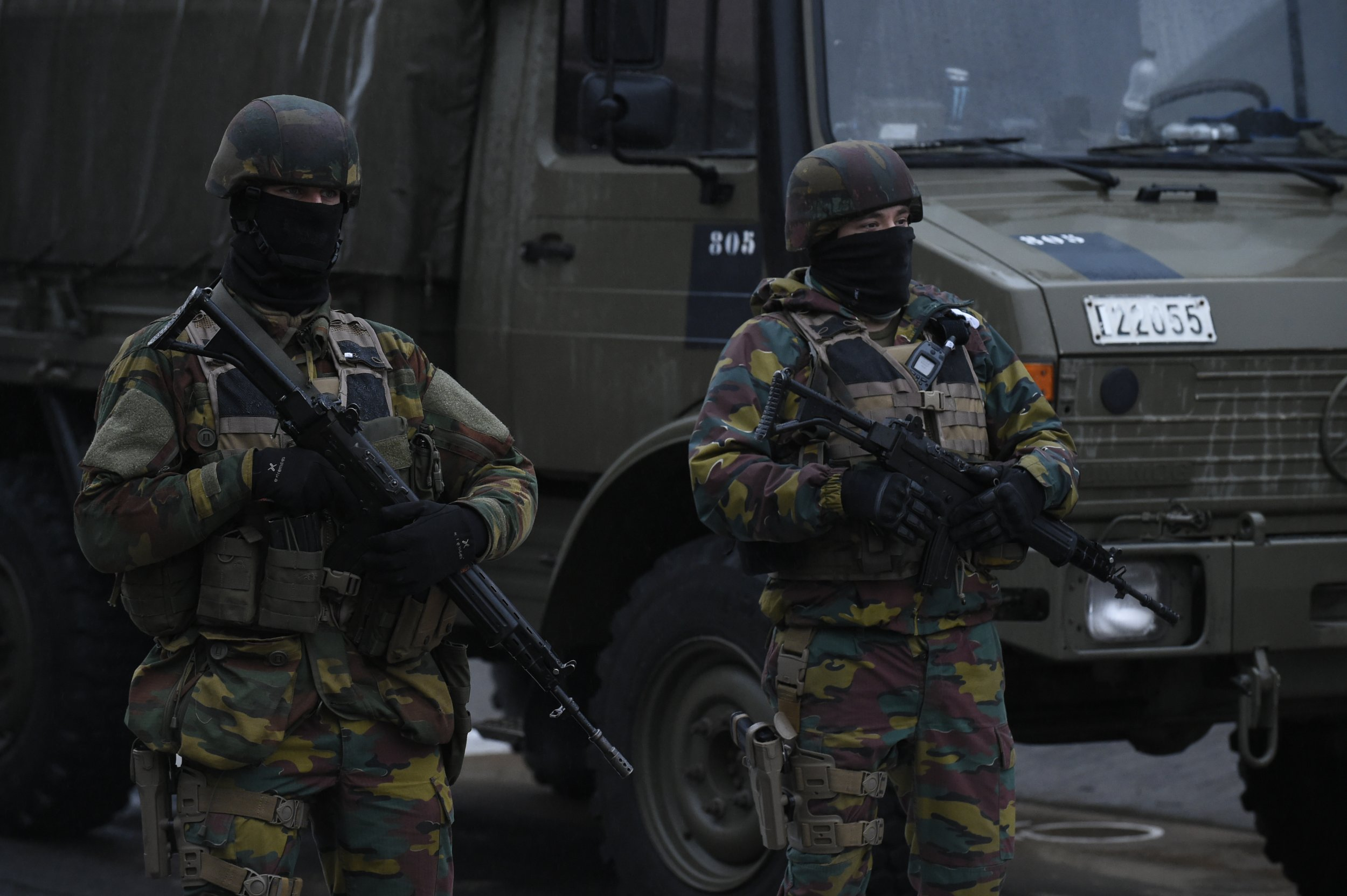 Belgian soldiers near Brussels airport in Zaventem, March 23, 2016.
