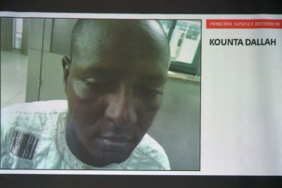 The prime suspect in the Ivory Coast attack, Kounta Dallah, is seen at a press conference in Abidjan.