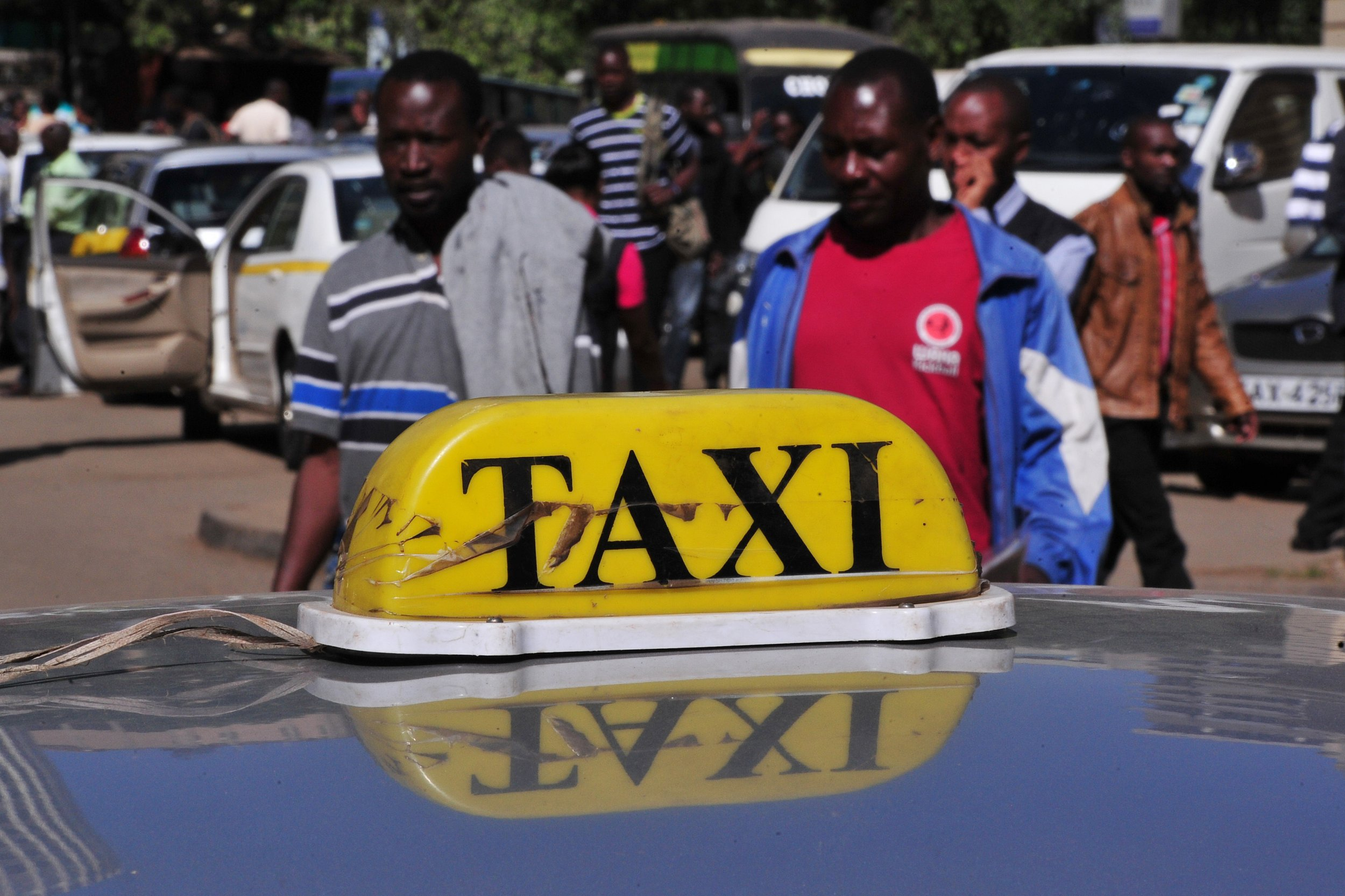 A Kenyan taxi waits for clients in Nairobi.