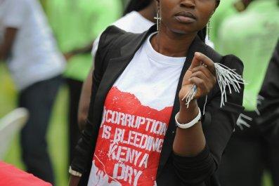 A Kenyan anti-corruption campaigner in Nairobi.