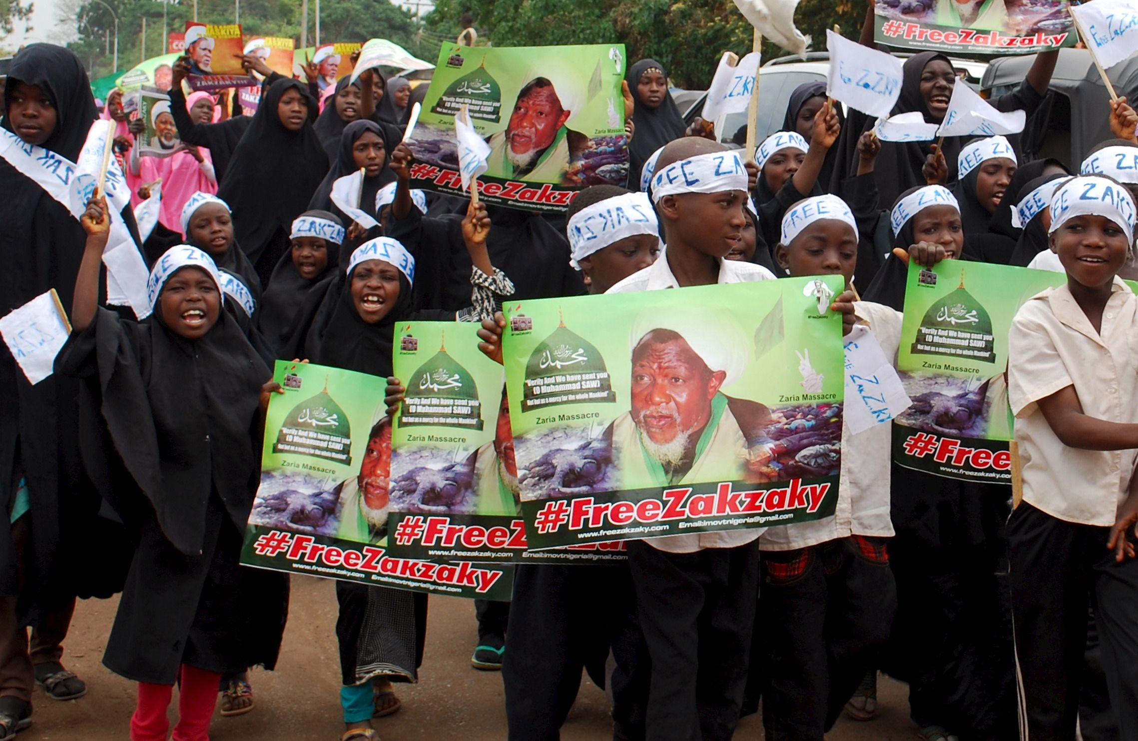 Shiite children demonstrate for the release of Sheikh Zakzaky in Kaduna.