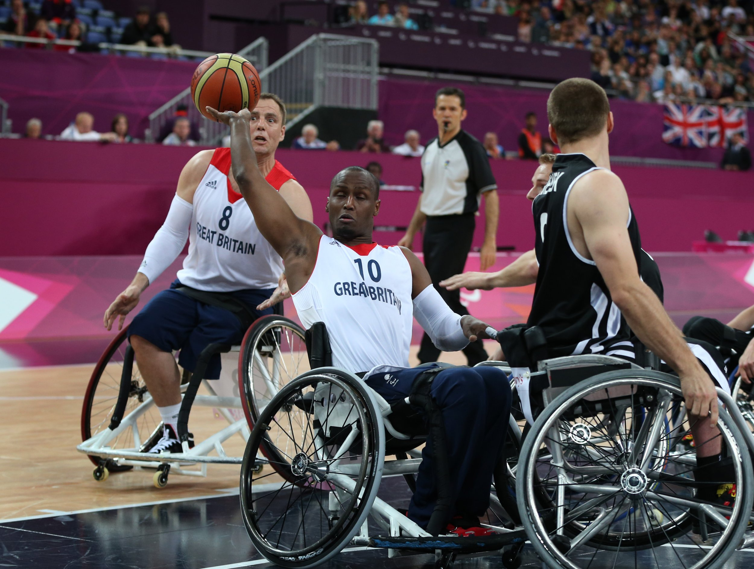 Abdi Jama controls a ball during the London 2012 Paralympics.