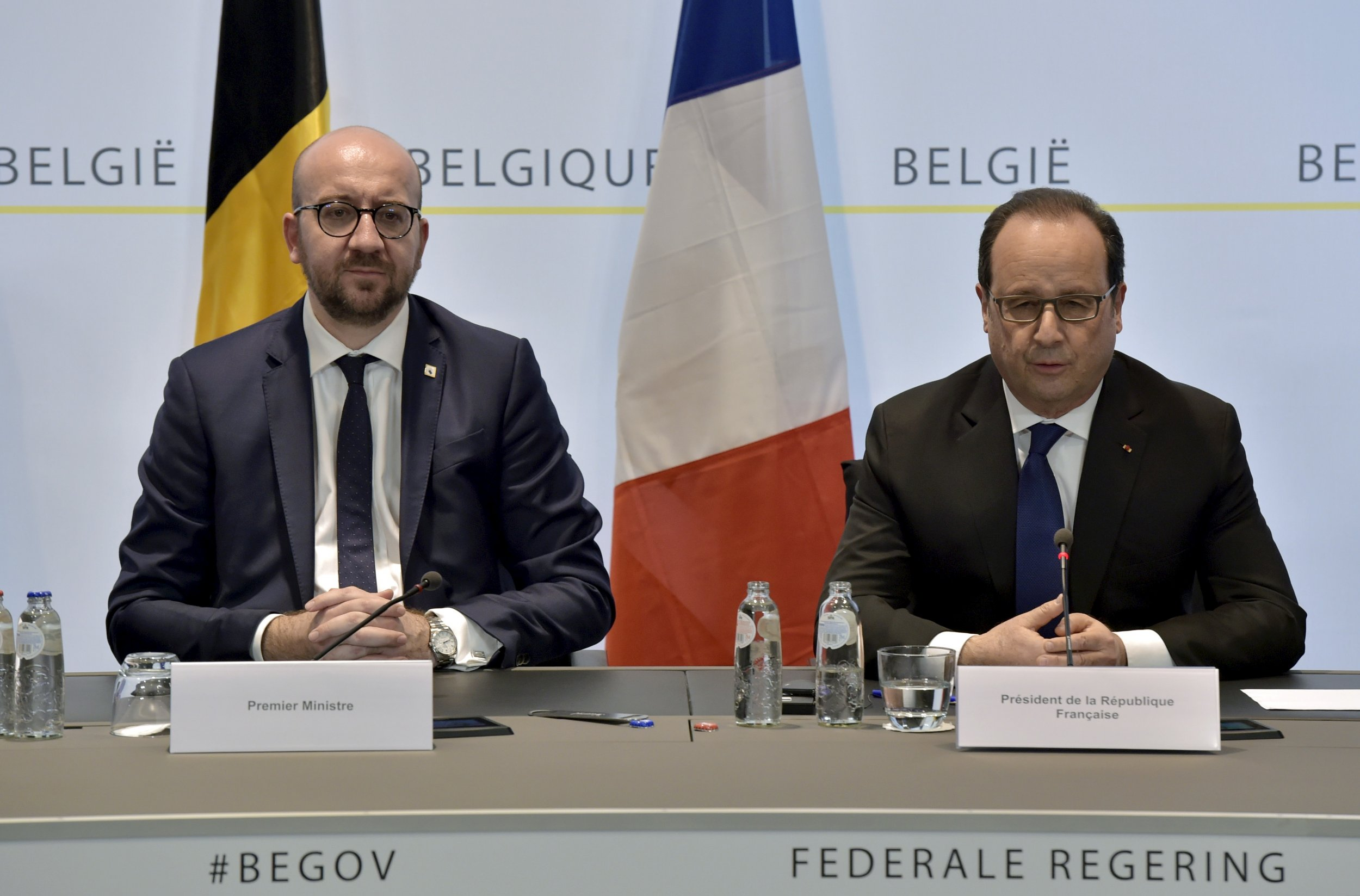Charles Michel and Francois Hollande