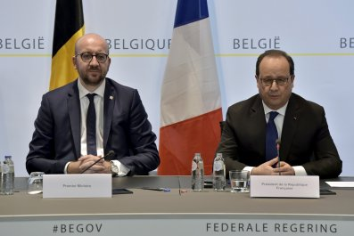Charles Michel and Francois Hollande