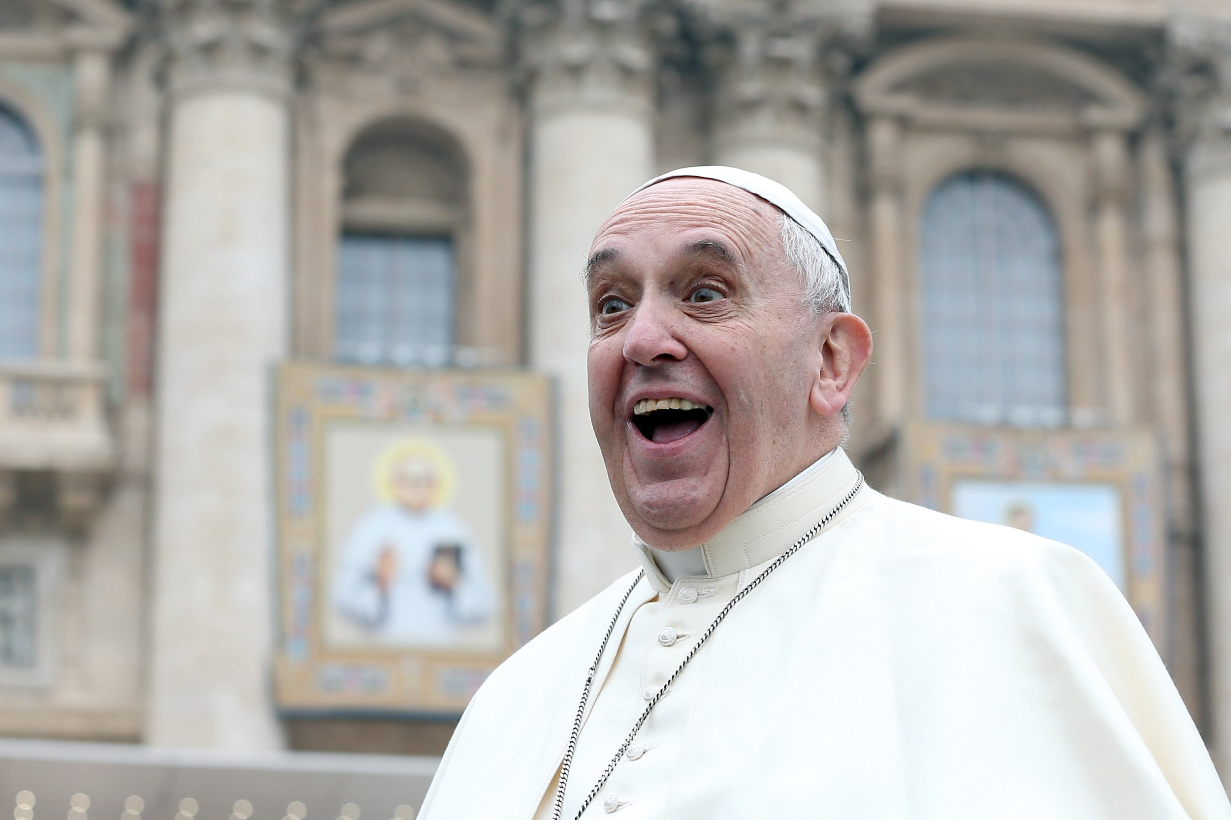 Pope Francis attends his weekly audience in St. Peter's Square.