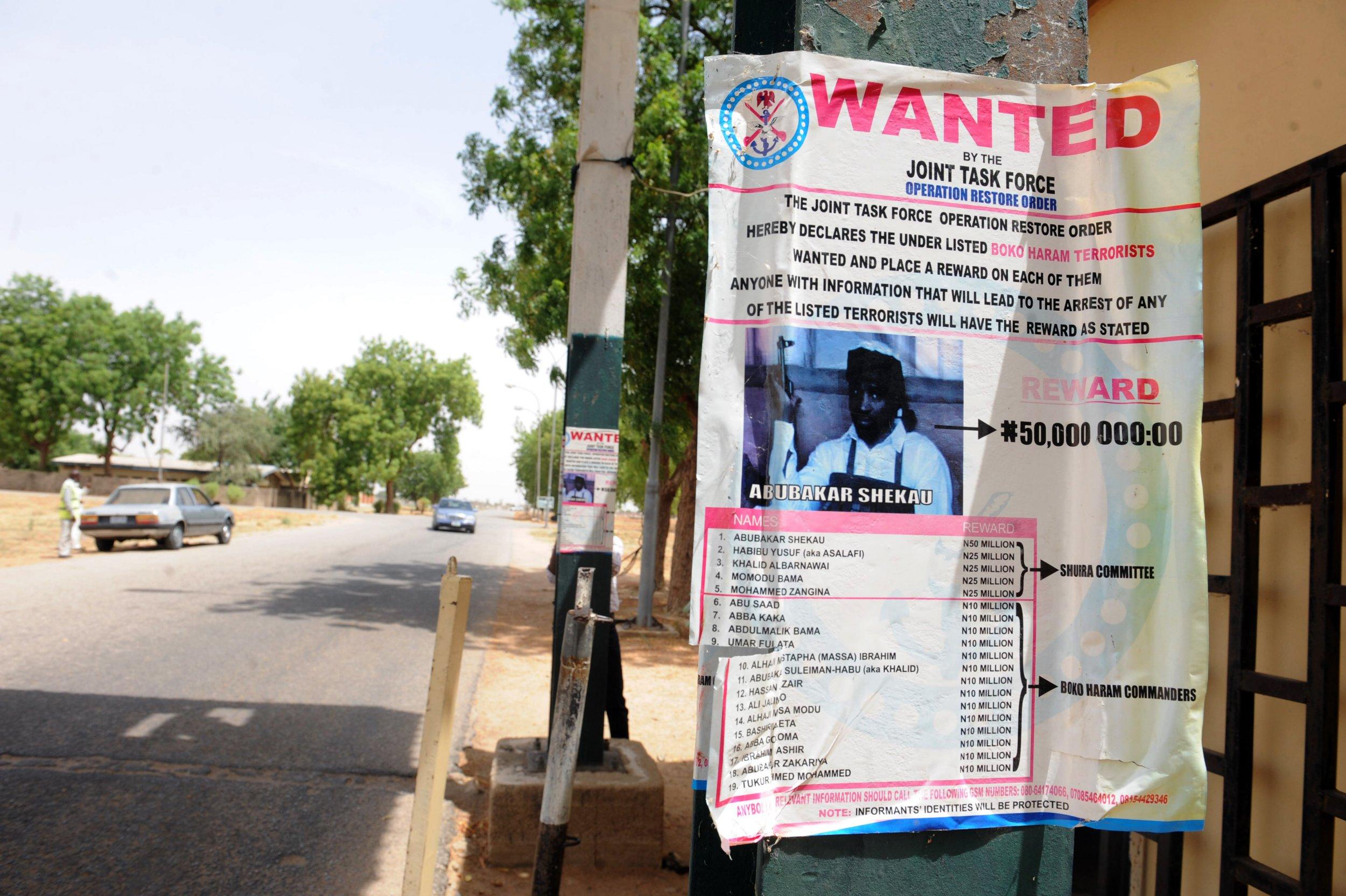 A wanted poster for Boko Haram leader Abubakar Shekau in Maiduguri.