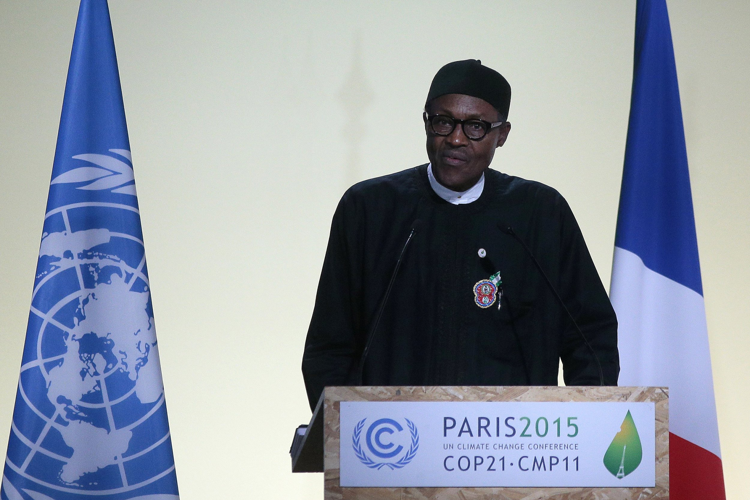 Nigerian President Muhammadu Buhari speaks at COP 21.