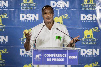 Congo President Denis Sassou Nguesso speaks after his re-election.