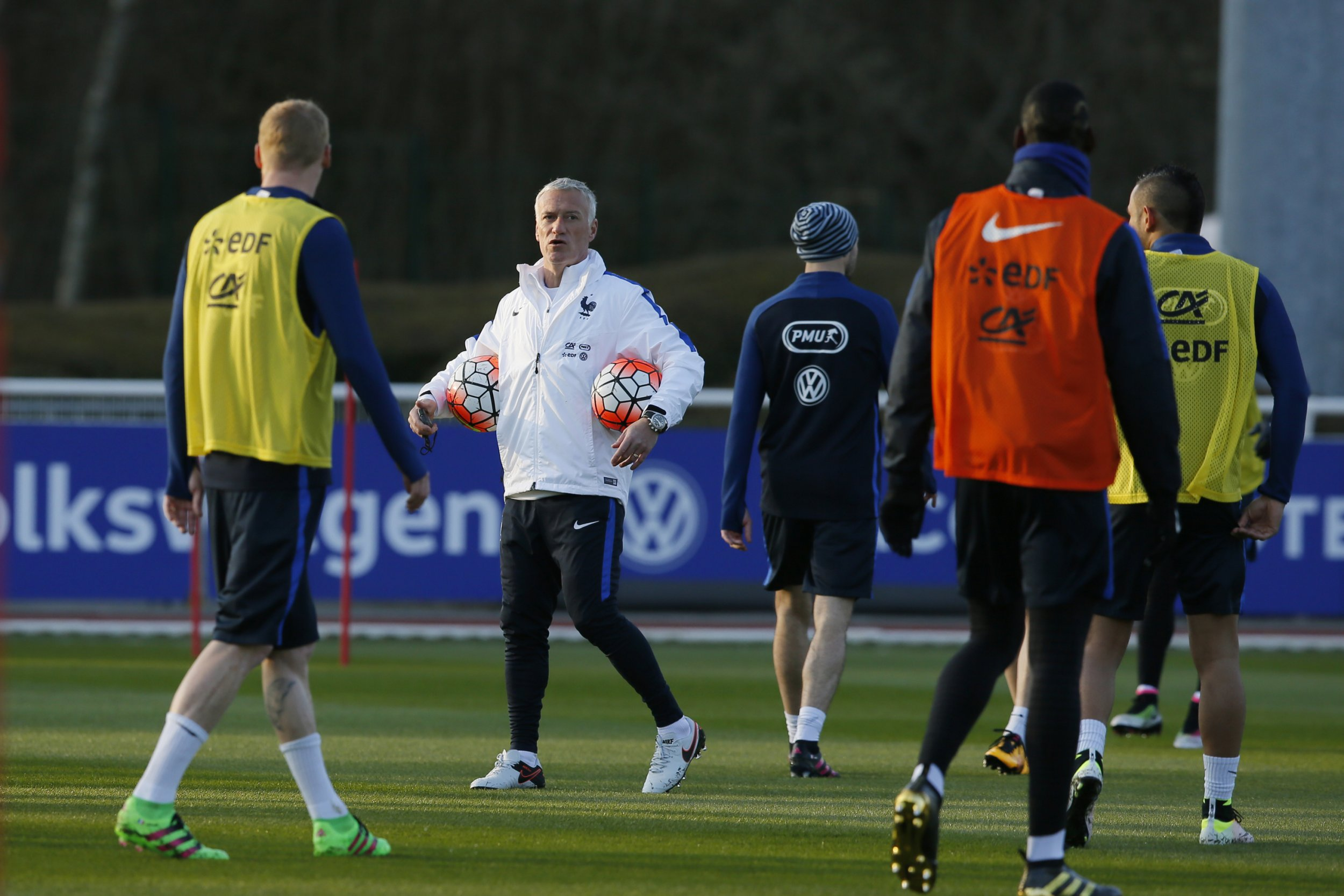 Didier Deschamps trains his France squad at Clairefontaine, March 22.