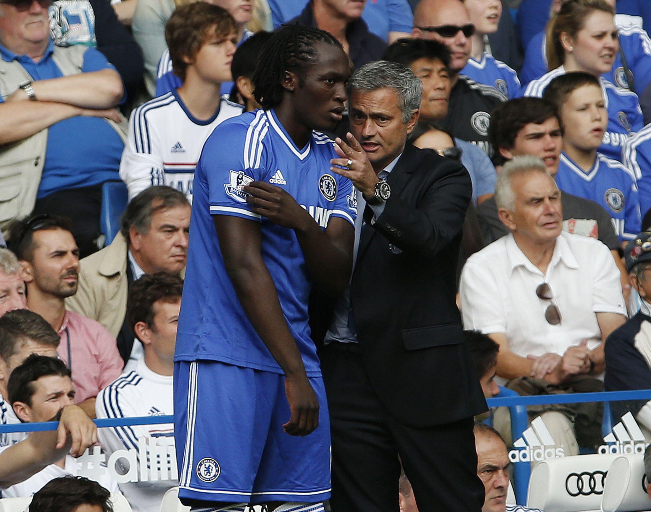Jose Mourinho, right, with Romelu Lukaku at Stamford Bridge, August 2013.