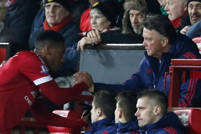 Anthony Martial, left, has enjoyed an impressive debut season for Manchester United.