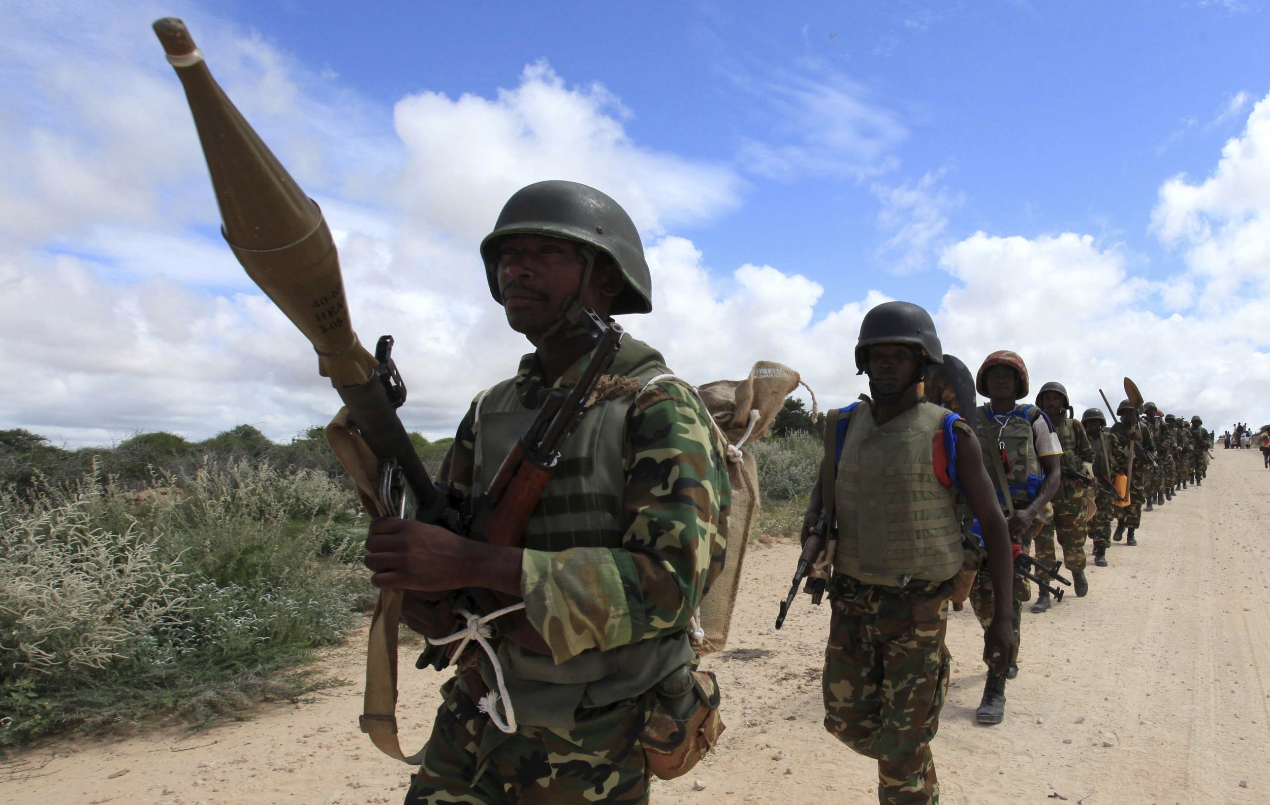 AMISOM peacekeepers in Burundi patrol in Mogadishu.