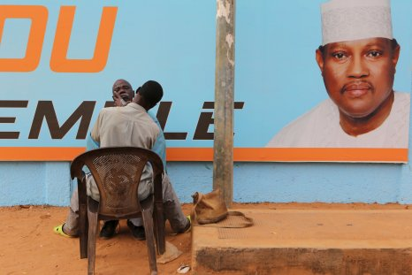 A campaign post for Hama Amadou in Niger.