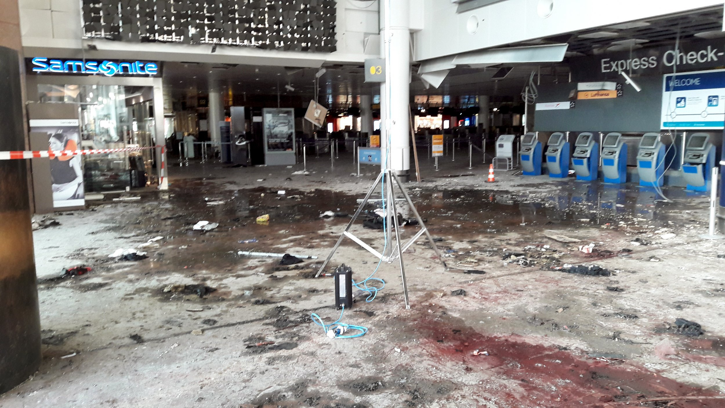 The aftermath of the Brussels airport bombing.