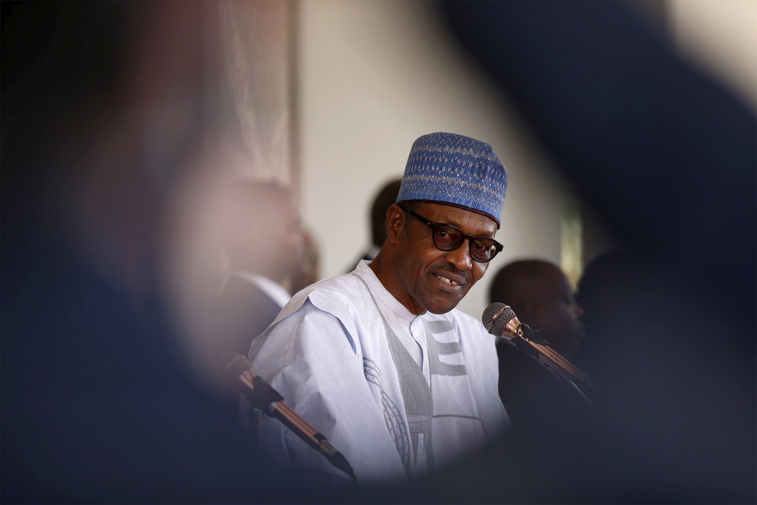 Nigerian President Muhammadu Buhari speaks at the State House in Abuja.