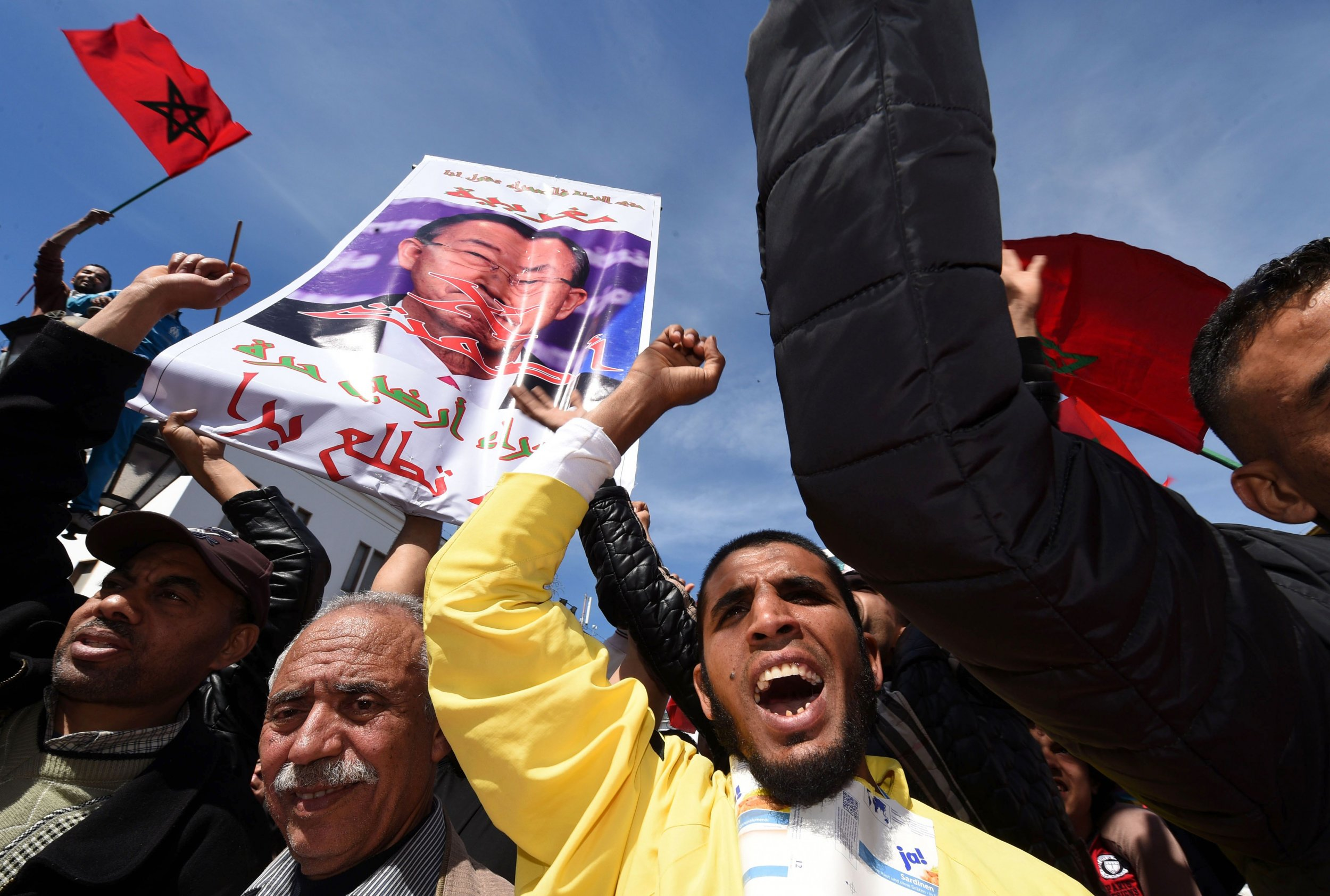 Moroccan protesters demonstrate against Ban Ki-moon's comments about Western Sahara.