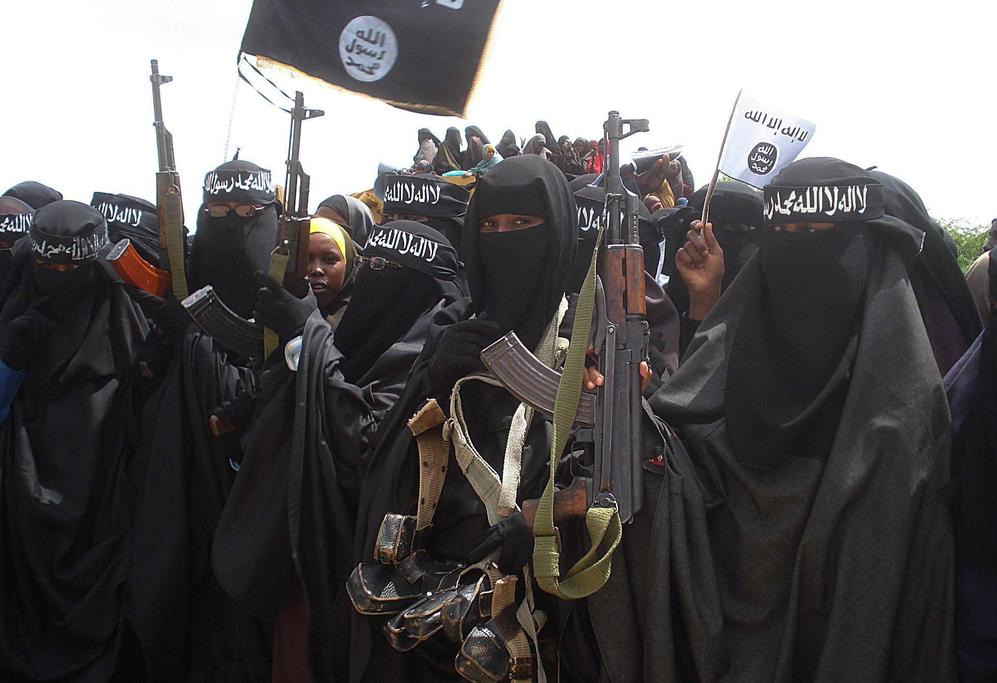 Somali women participate in an Al-Shabab demonstration in Mogadishu.
