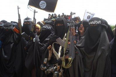 Somali women participate in an Al-Shabab demonstration in Mogadishu.