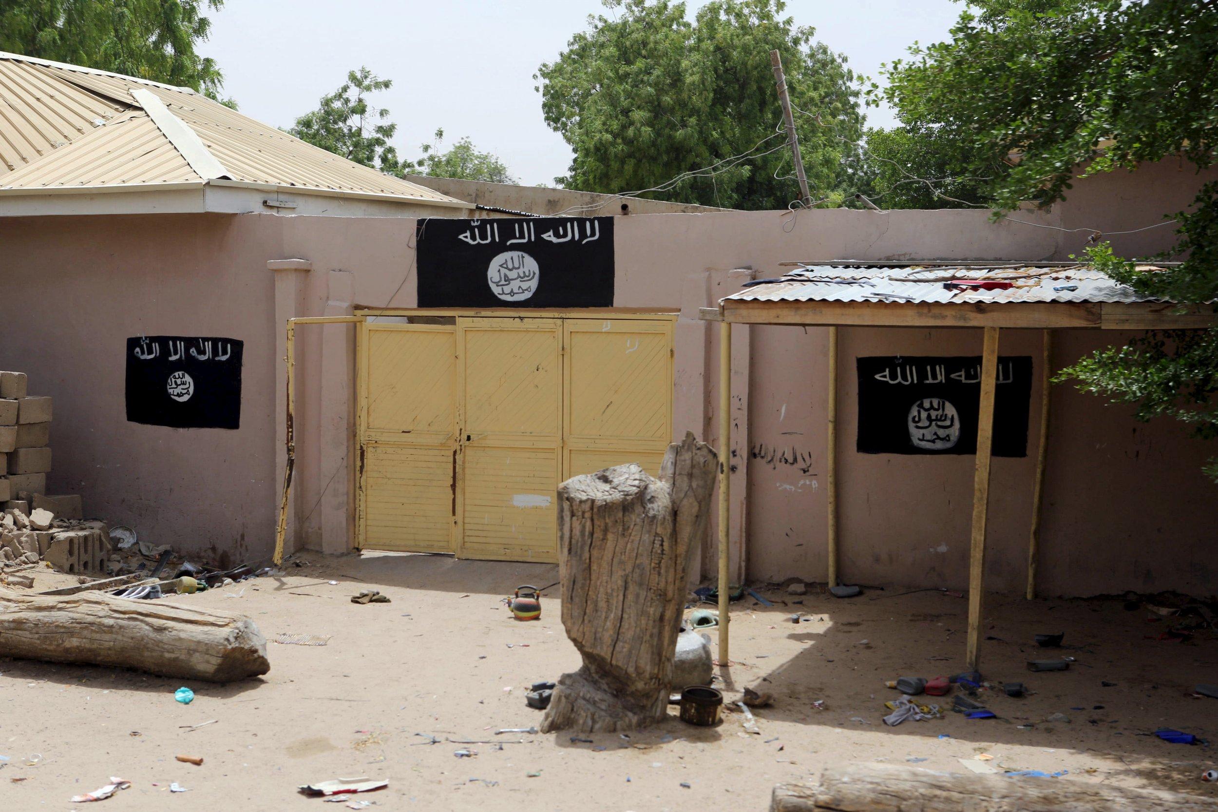 A Boko Haram painted wall in Damasak, Nigeria.