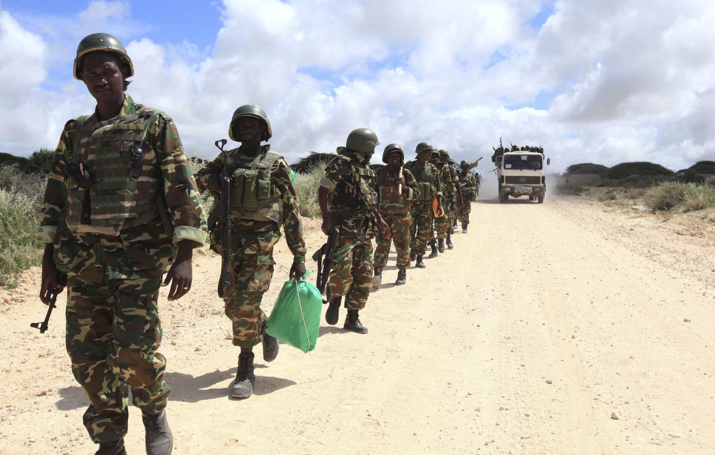 African Union soldiers patrol near Mogadishu.