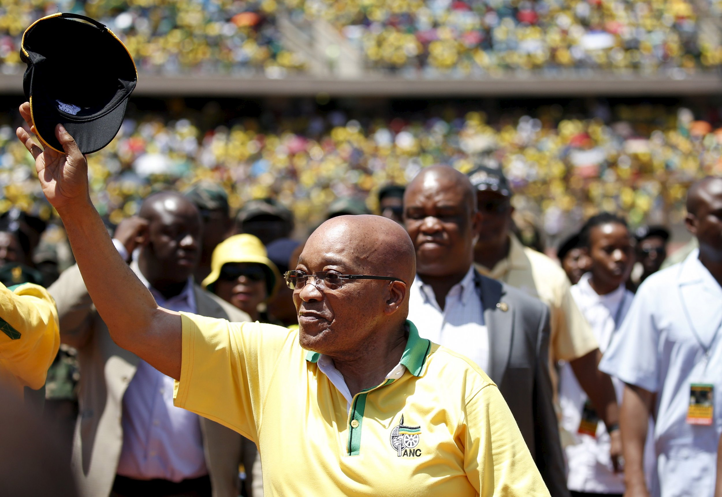 South African President Jacob Zuma attends the ANC's anniversary celebrations.