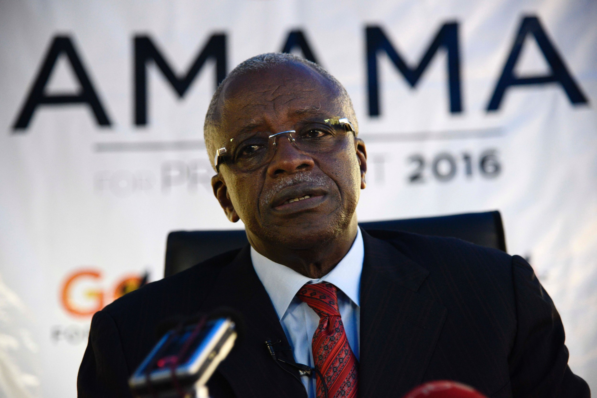 Amama Mbabazi addresses the media in Kampala, Uganda.