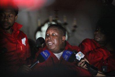 EFF leader Julius Malema speaks in Cape Town.