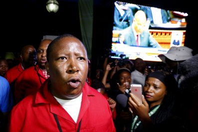 EFF leader Julius Malema after being ejected from the State of the Nation address.