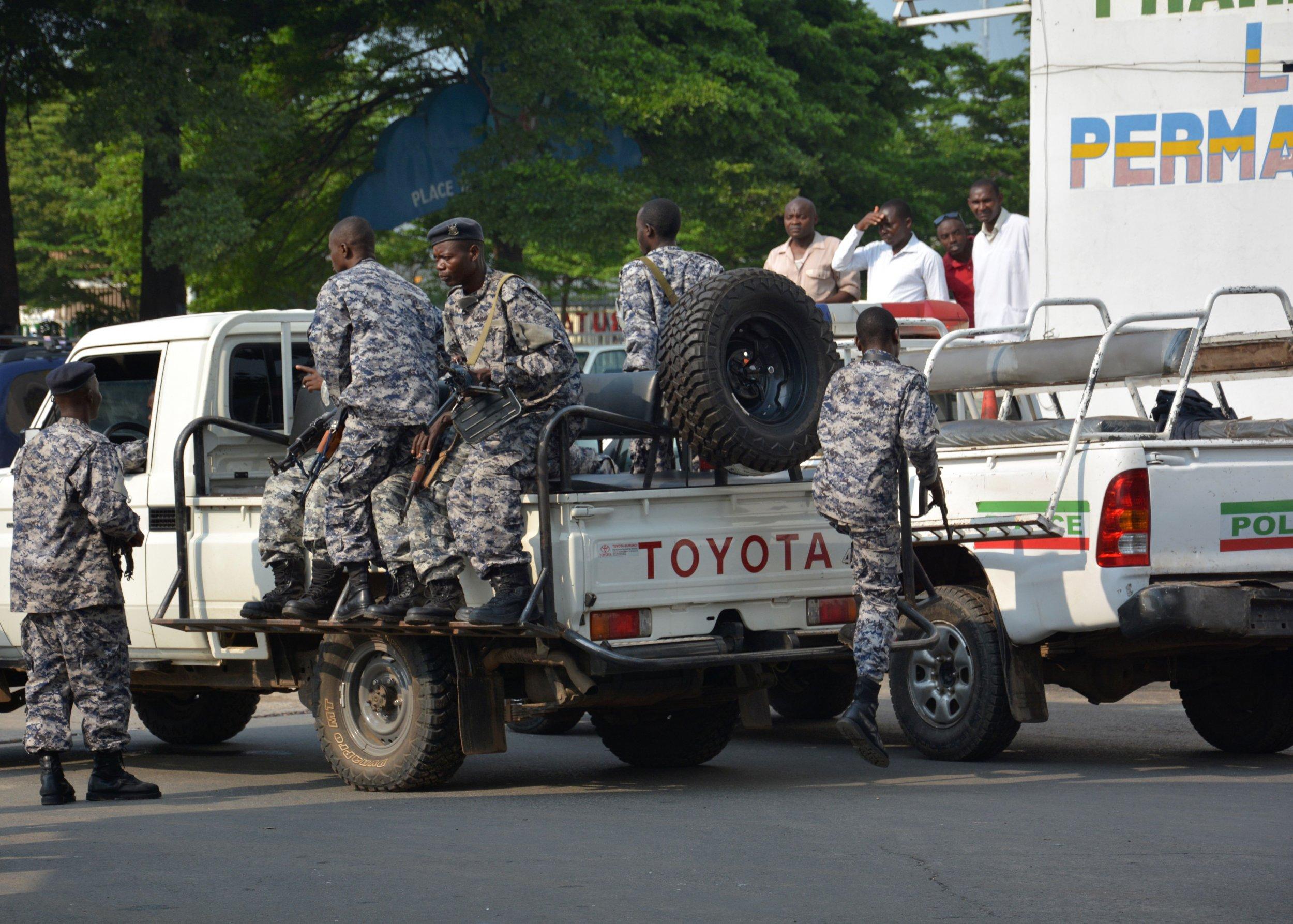Burundi policemen patrol in Bujumbura.