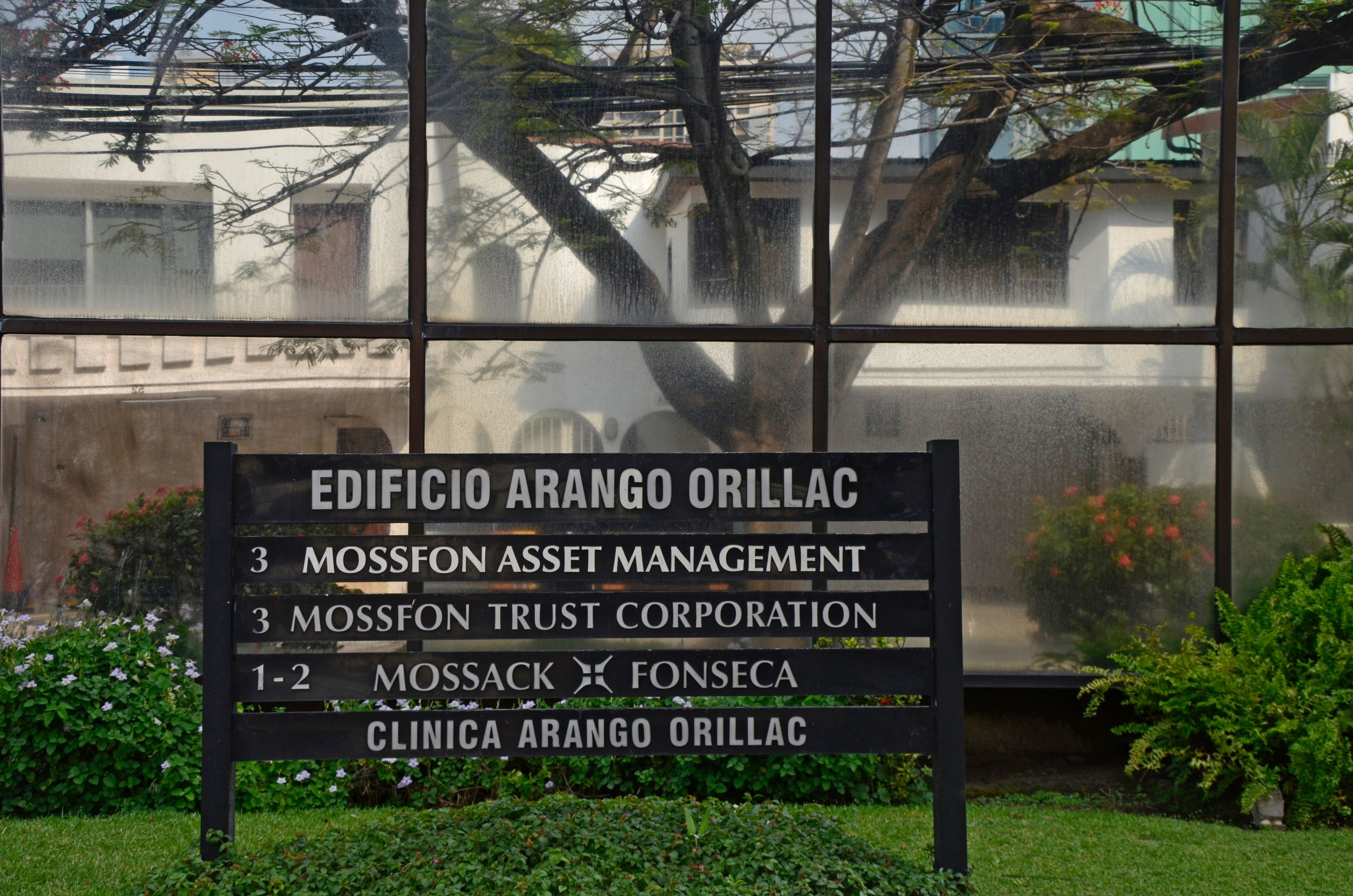 A sign outside the offices of Mossack Fonseca, the law firm connected to the Panama Papers.