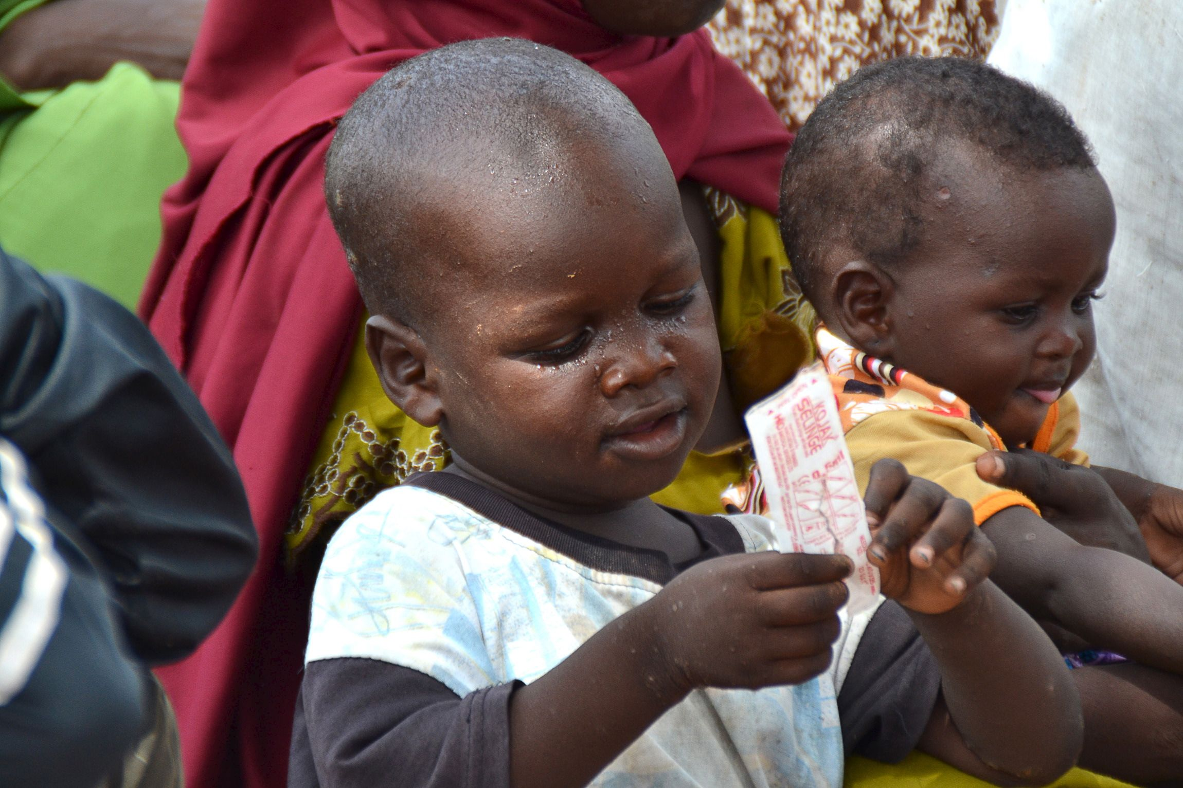 A child freed from Boko Haram awaits medical treatment.