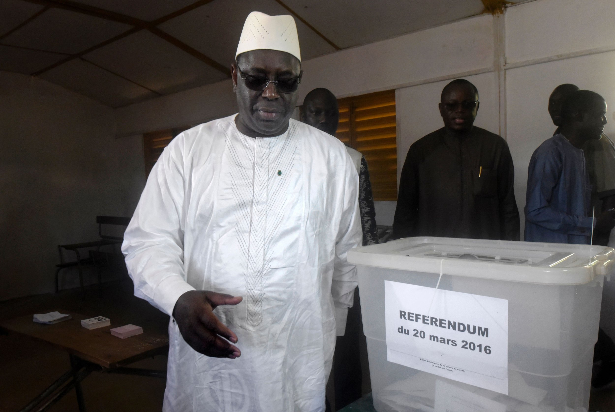 Senegalese President Macky Sall votes in the referendum.