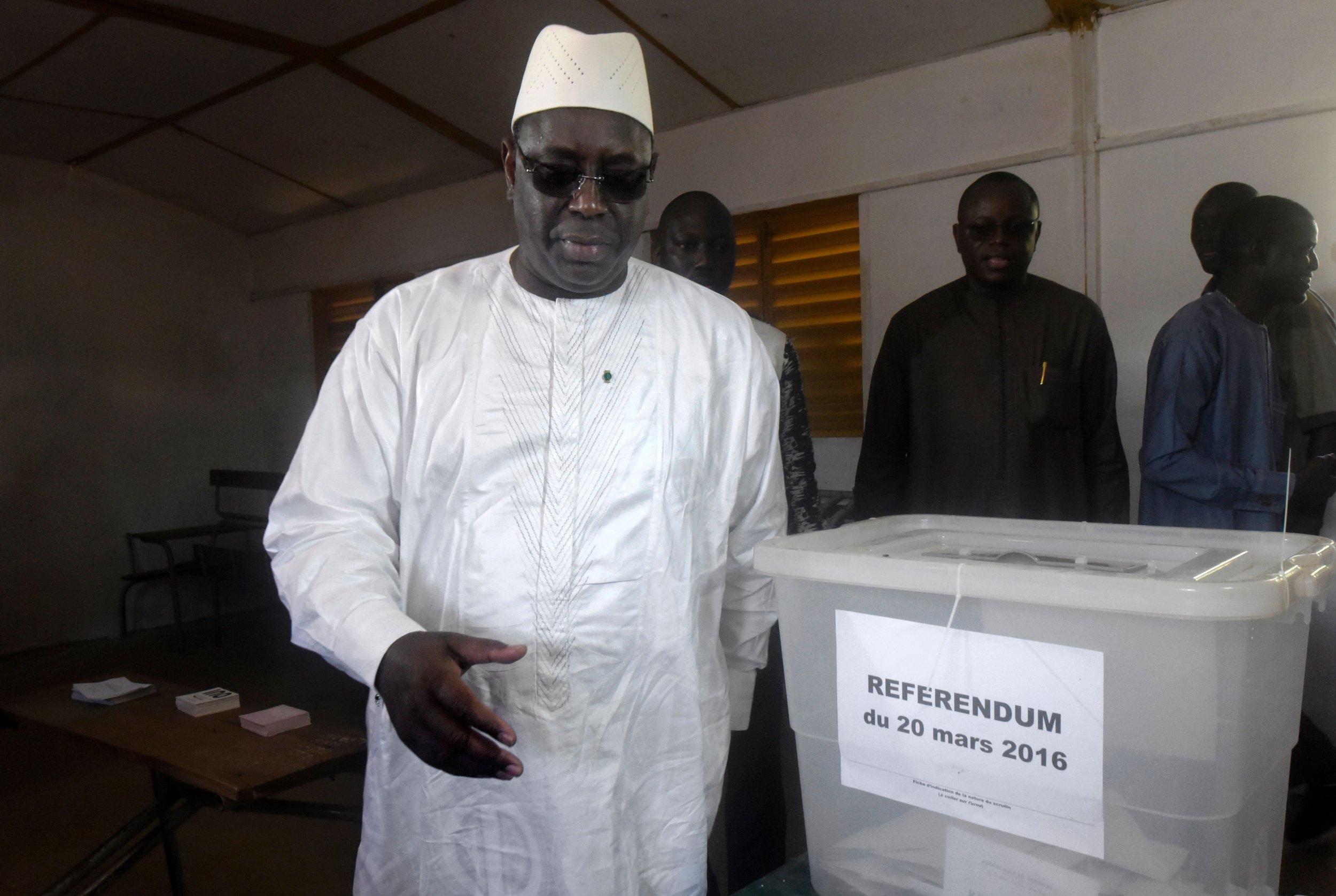 Senegalese President Macky Sall votes in the referendum.