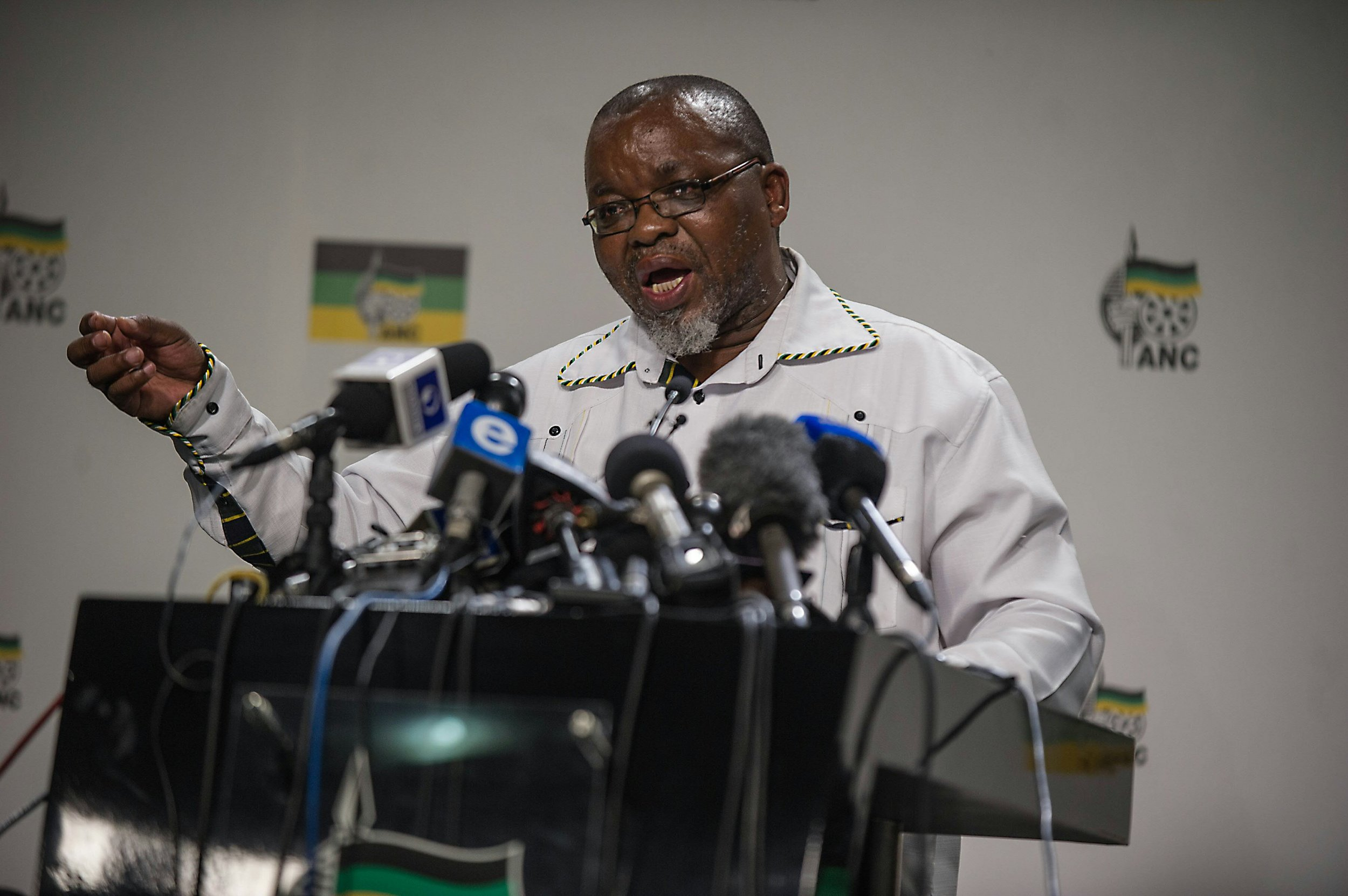 ANC secretary Gwede Mantashe addresses the media.