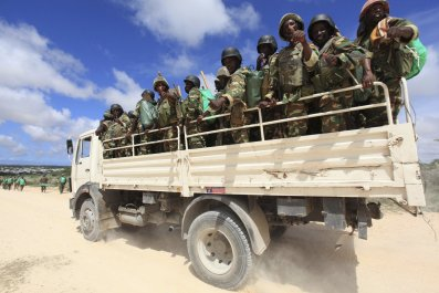 AMISOM peacekeepers patrol in Mogadishu.