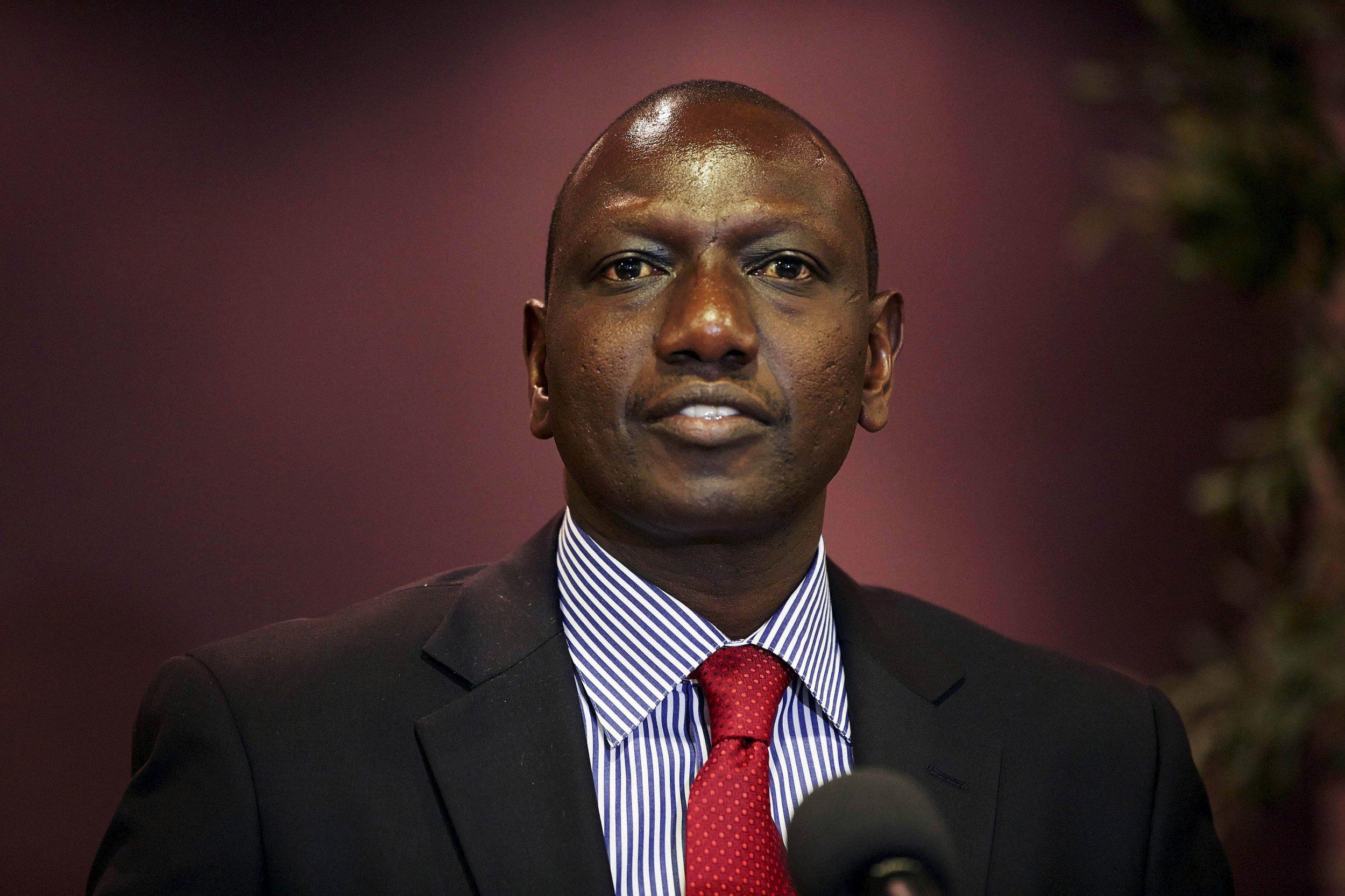Kenya's Deputy President William Ruto speaks at the Hague.