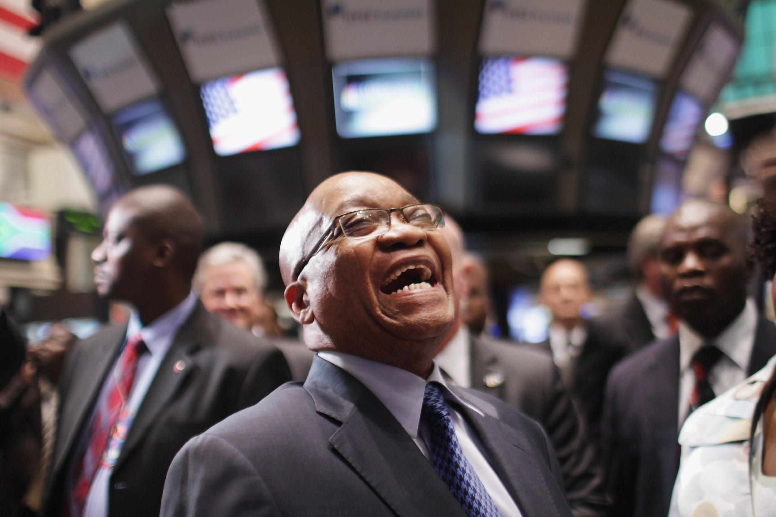 South African President Jacob Zuma visits the New York Stock Exchange.